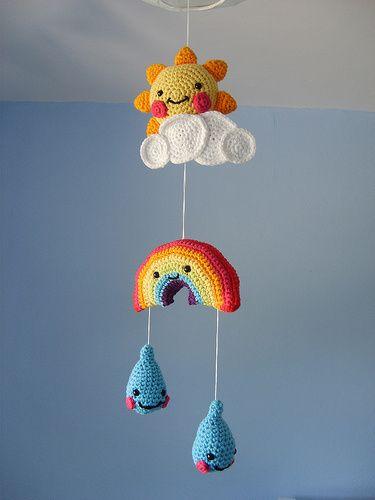 mobile de bebe feito em croche