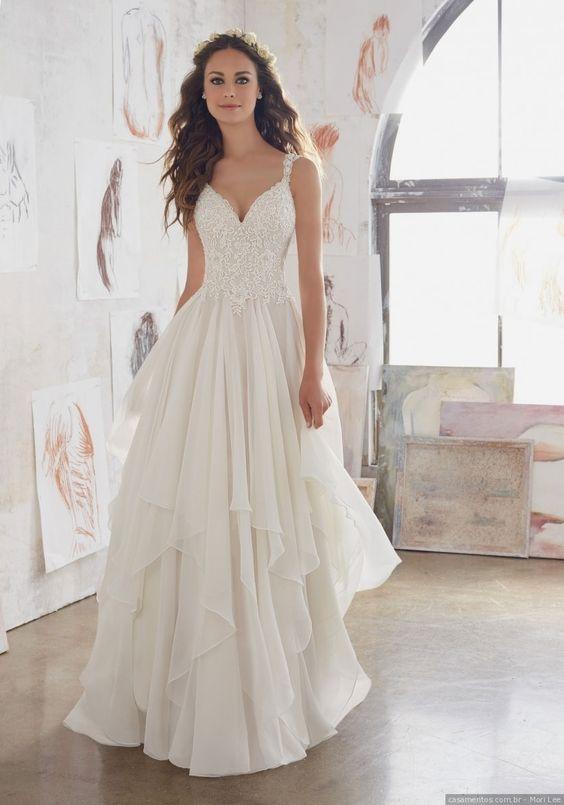 modelo vestido noiva verao folhos