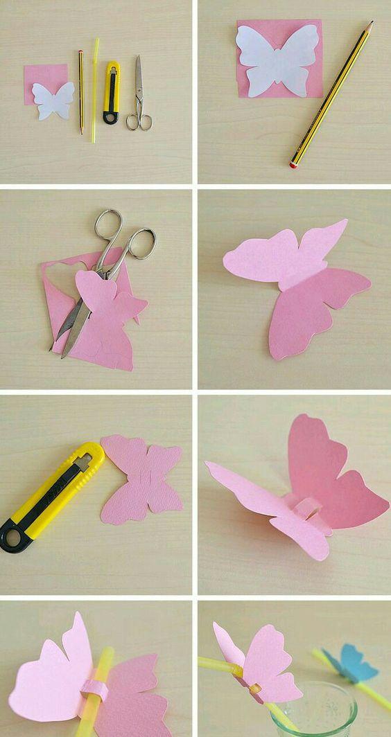 molde borboleta papel passo passo