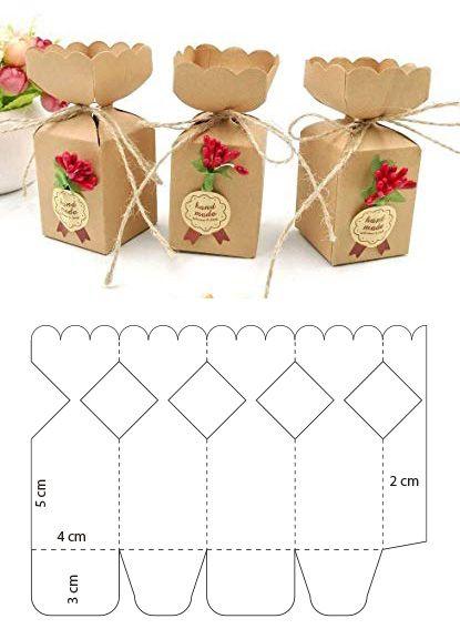 molde caixa papel casamento flores