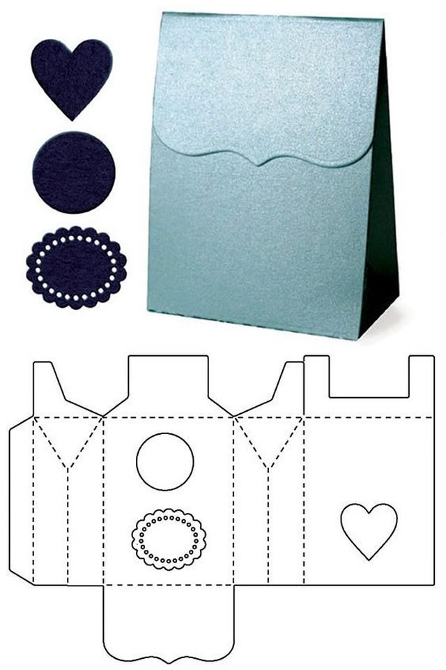 molde caixa papel decorada simples