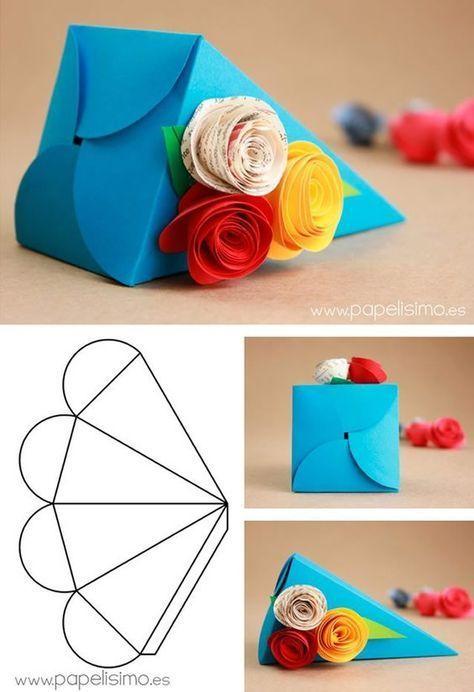 molde caixa papel decorada