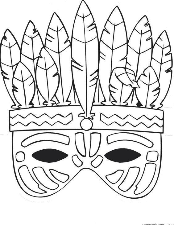 moldes mascaras carnaval indio