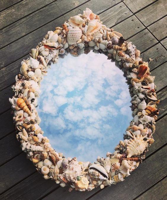 moldura espelho diy conchas