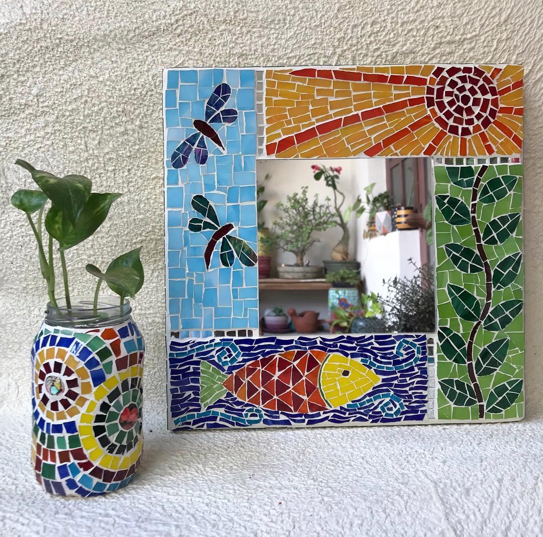 moldura espelho diy mosaico