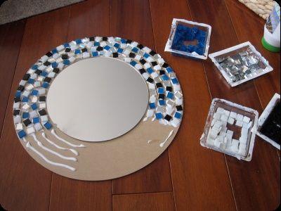 moldura espelho diy mosaicos