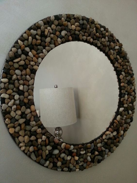 moldura espelho diy pedras
