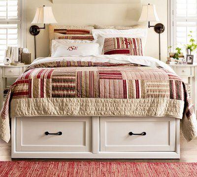 organizar quarto gavetas cama