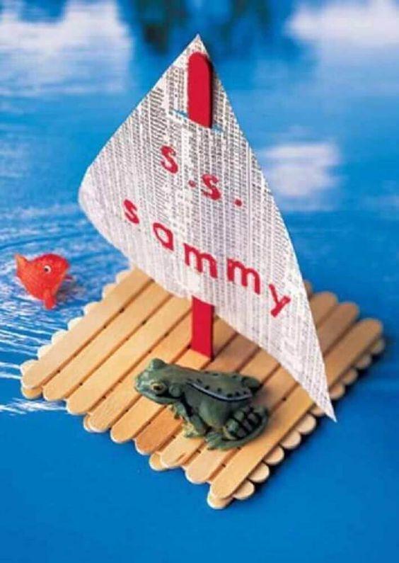 palitos picole brinquedo barco