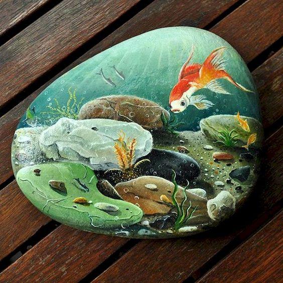 pedras pintadas aquario