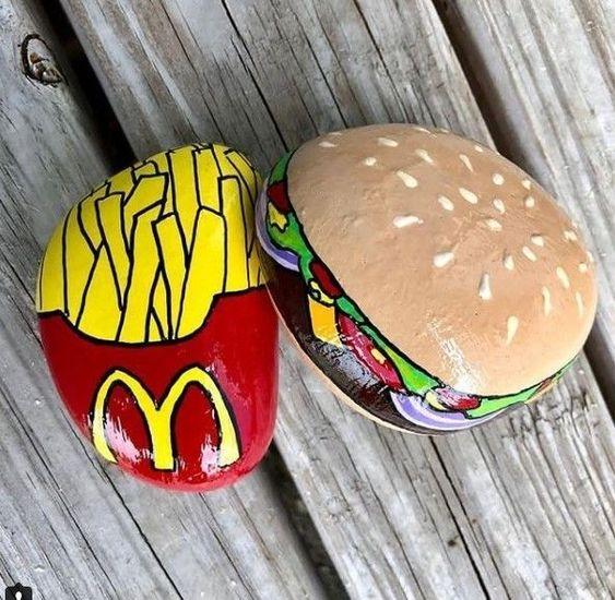 pedras pintadas comida fast food