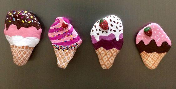 pedras pintadas doces sorvetes