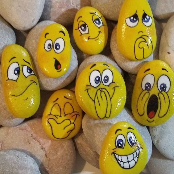 pedras pintadas emojis ideias