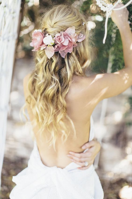 penteado noiva flores