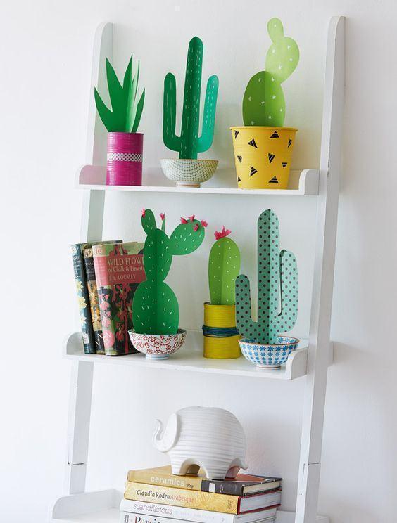 plantas papel decoracao catos vasos