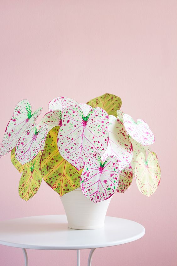 plantas papel decoracao flores coloridas
