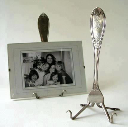 porta retratos com garfos