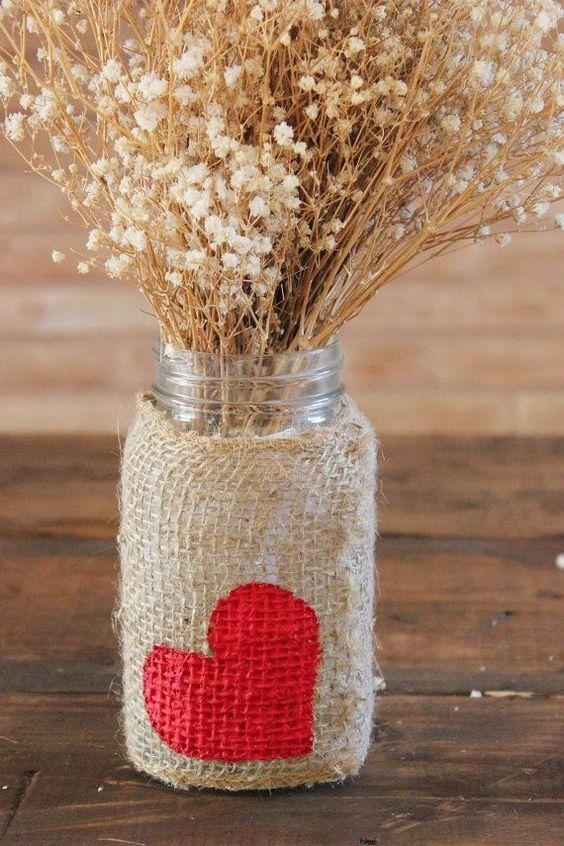 pote vidro dia namorados decoracao flores juta