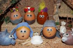 presepio material reciclado ovos