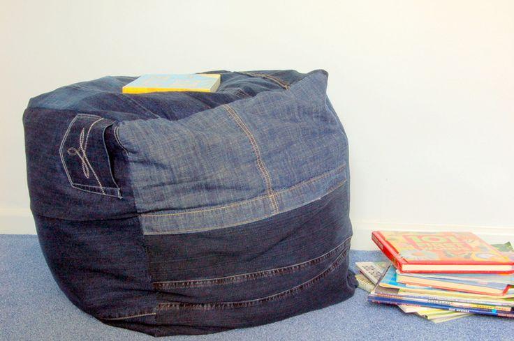 puf de jeans reciclados