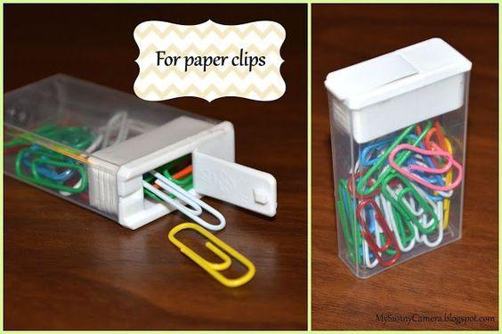 reciclar caixa tic tac clipes