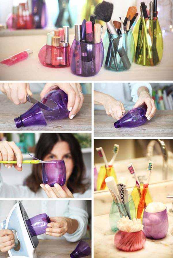 reciclar garrfas pet suporte maquiagem