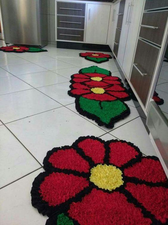 tapete frufru cozinha flores