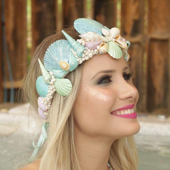 tiara concha sereia azul
