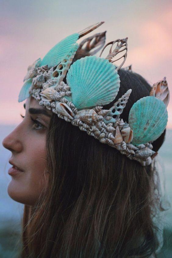 tiara concha sereia coroa
