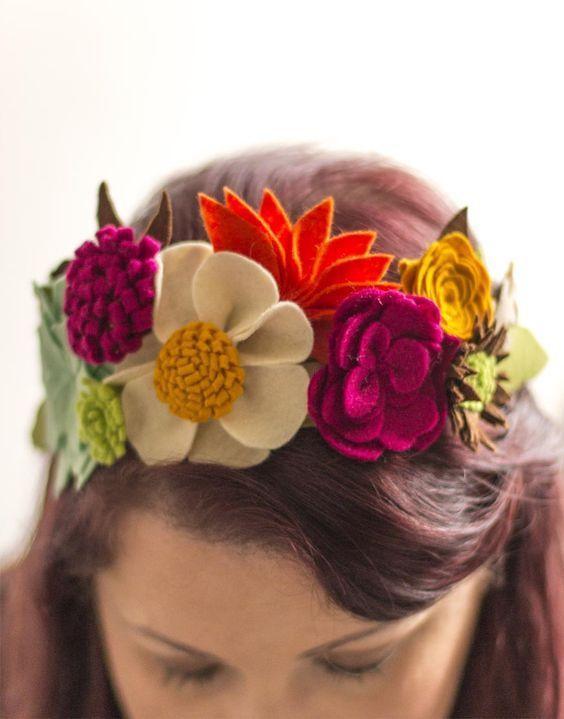 tiara flor tecido 3
