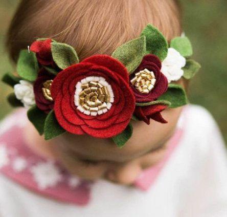 tiara flor tecido bebe