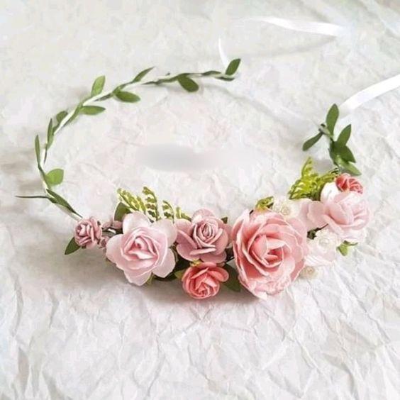 tiara flor tecido daminha 2