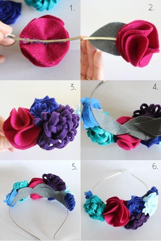 tiara flor tecido