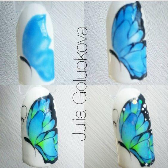tutorial desenho unhas borboleta