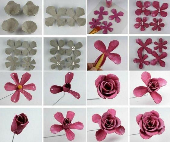 10 tutoriais flores feitas com caixas de ovos. Black Bedroom Furniture Sets. Home Design Ideas