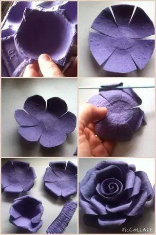 tutorial diy flor caixa ovo 4