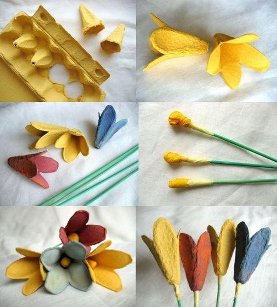 tutorial diy flor caixa ovo 5