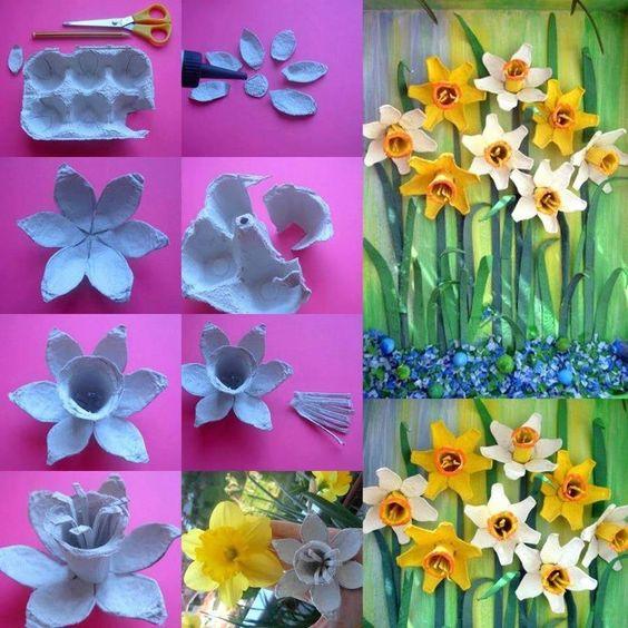 tutorial diy flor caixa ovo