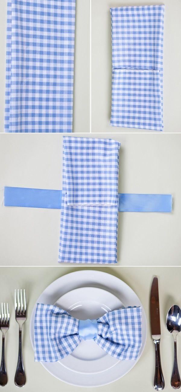 tutorial dobrar guardanapos laço