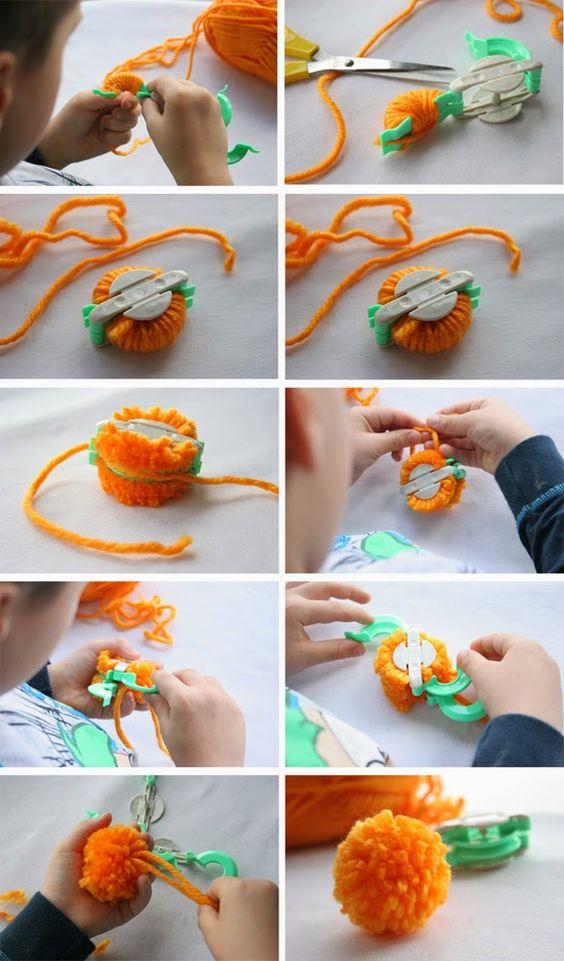 tutorial fruta pompom laranja