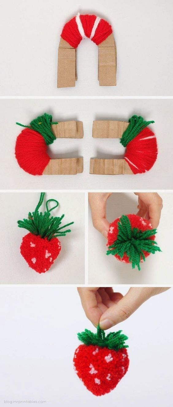 tutorial fruta pompom
