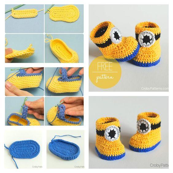 tutorial sapatinhos croche minions