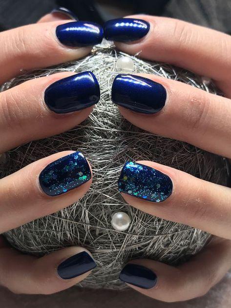 unhas decoradas azul filha unica