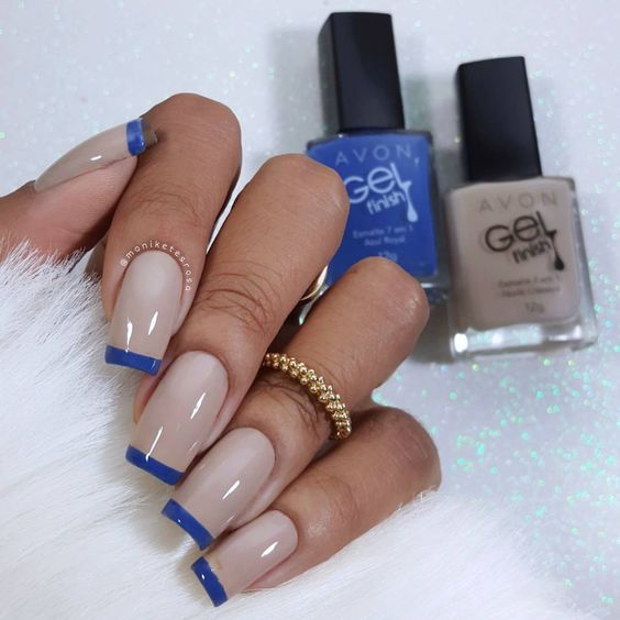 unhas decoradas azul francesinha inspiracao