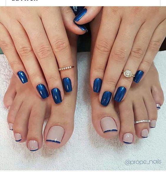 unhas decoradas azul francesinha pes