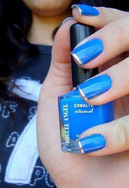 unhas decoradas azul francesinha