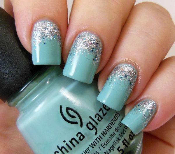 unhas decoradas azul tiffany glitter