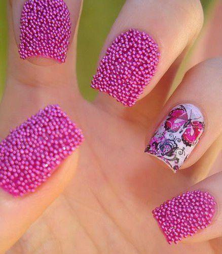 unhas decoradas caviar rosa