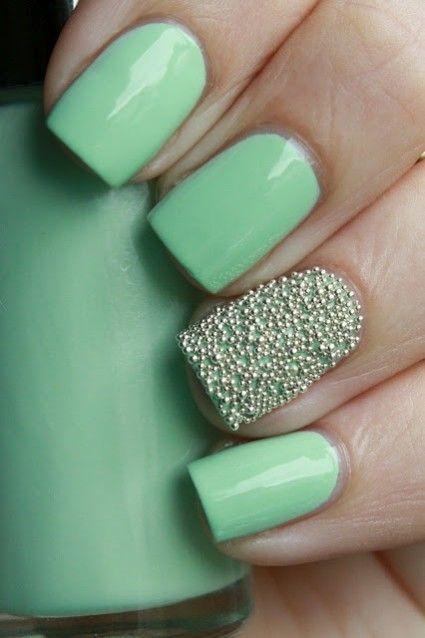 unhas decoradas caviar verde