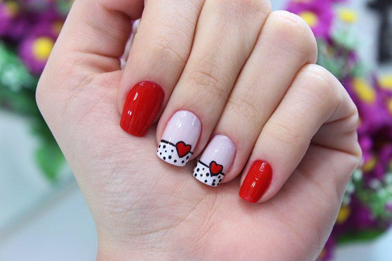 unhas decoradas coracao vermelho